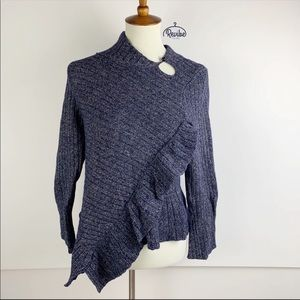 Knitted & Knotted Anthro Faux Wrap Sweater D1317